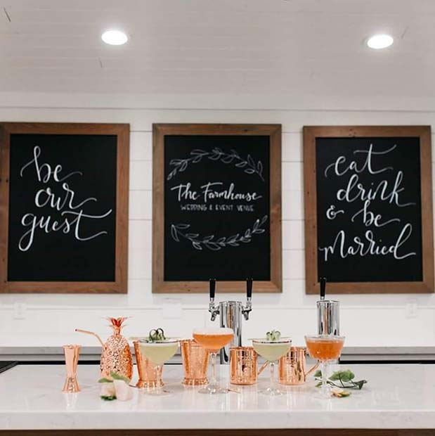 Stylish Bridal Shower Bar Idea