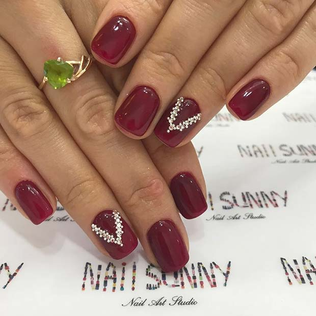 Elegant Dark Red Nails with Rhinestones