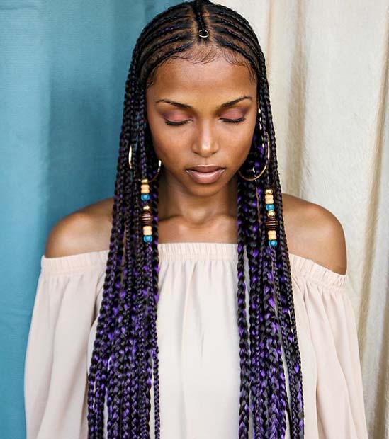 Stylish Purple Fulani Inspired Braids