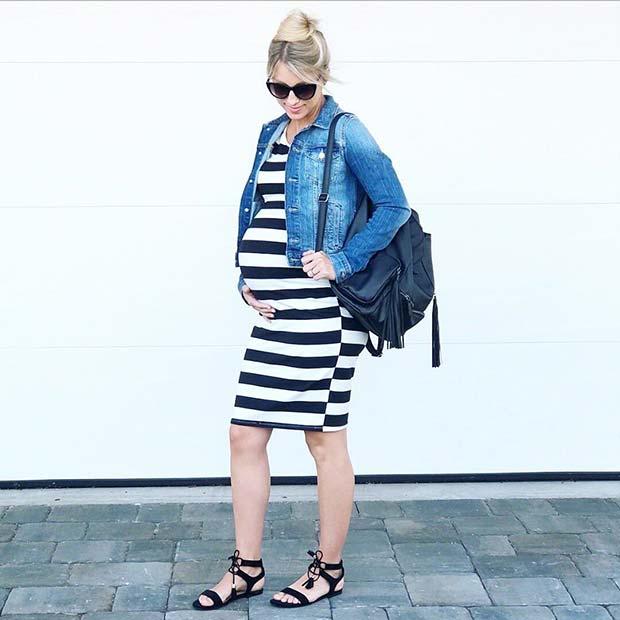 Stylish Stripe Maternity Dress