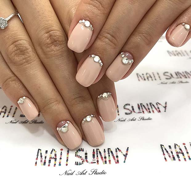 Trendy Prom Nude Nails with Rhinestones