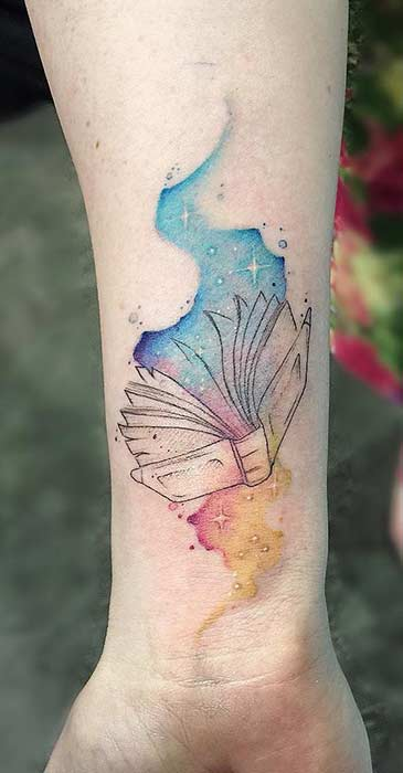 Watercolor Book Tattoo Idea