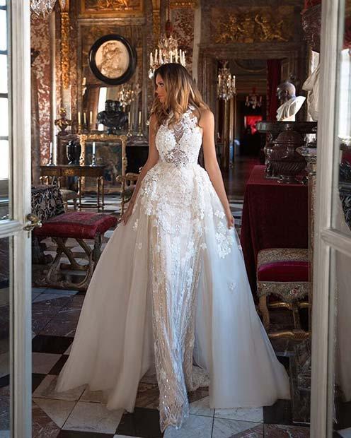 Modern Wedding Dress with Overskirt