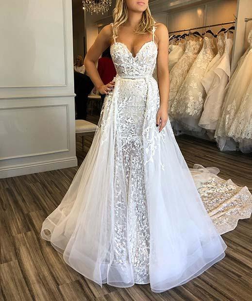 Overskirt Lace Wedding Dress
