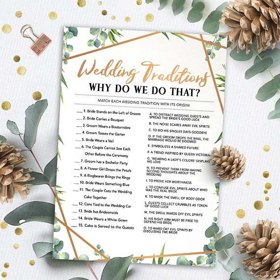 Wedding Traditions Game Idea for Bridal Shower