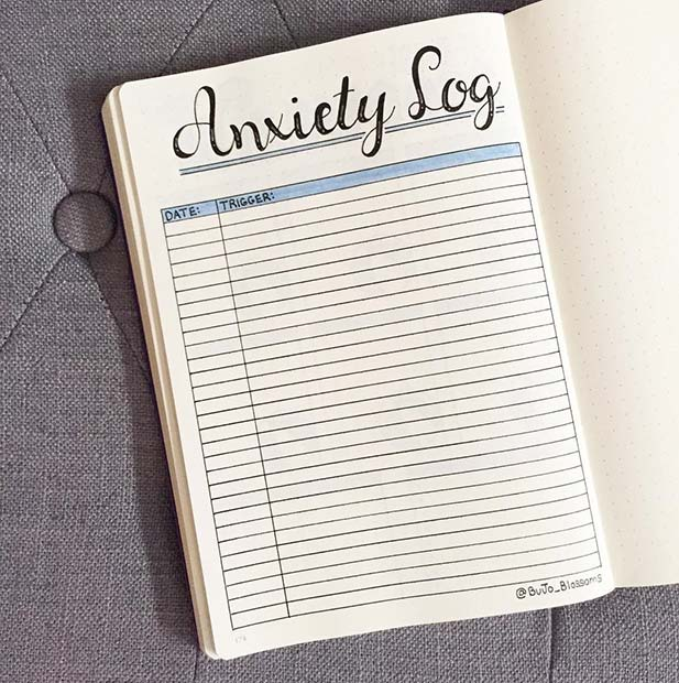 Bullet Journal Anxiety Log