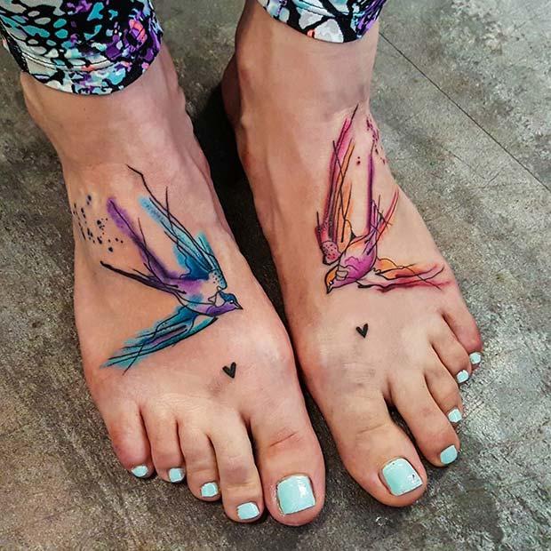 Watercolor Foot Tattoo