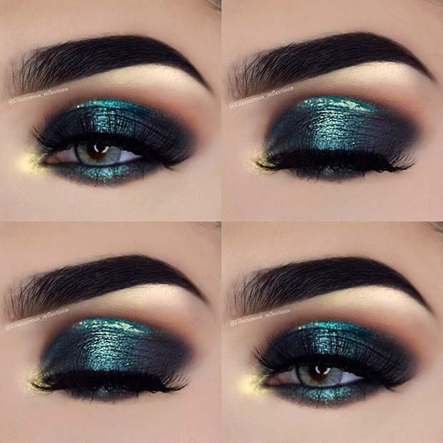 Beautiful Emerald Prom Makeup Idea