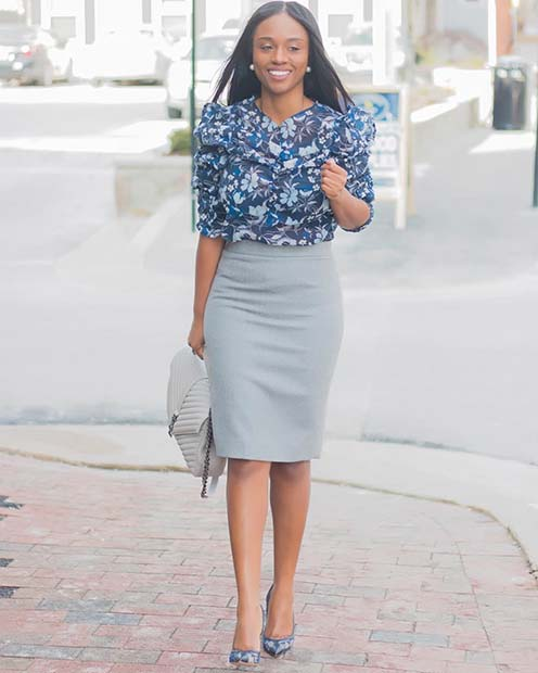 Grey Midi Skirt and Blue Blouse Outfit Idea