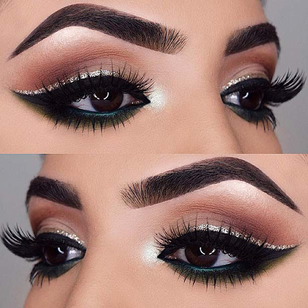 Bold Eyeliner with Silver Glitter