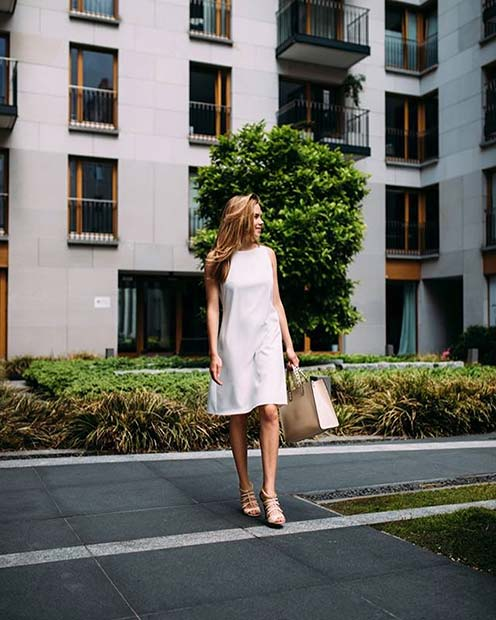 Chic White Dress Outfit Idea for Work