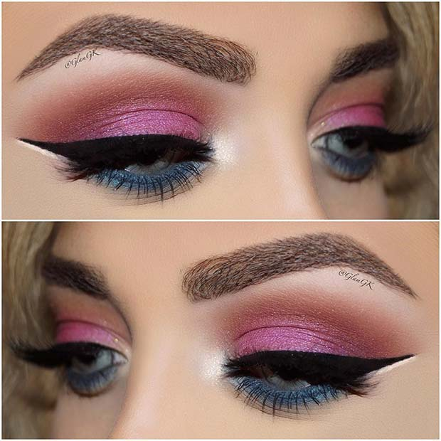 Colorful Pink and Blue Eye Makeup