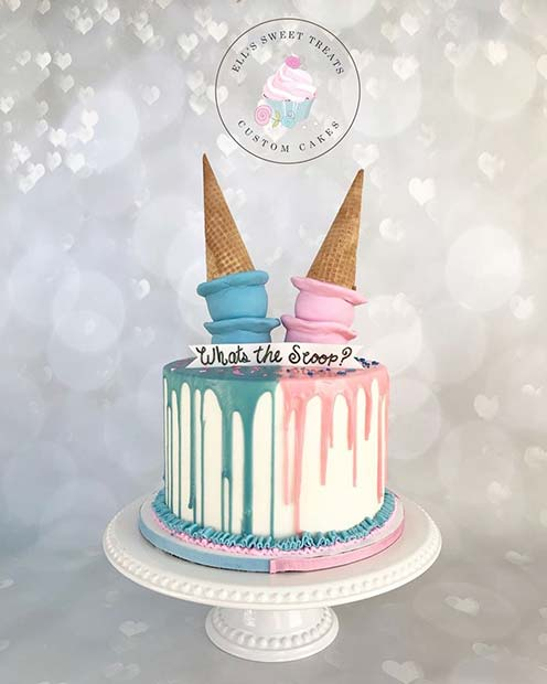 Creative Whats the Scoop Gender Reveal Cake Idea