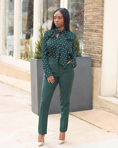 All Green Work Outfit Idea for Summer