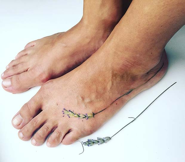 Delicate Lavender Foot Tattoo Design