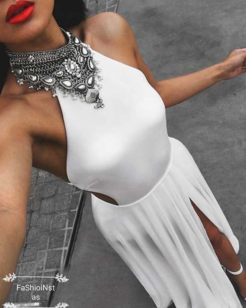 White Party Dress with a Statement Necklace