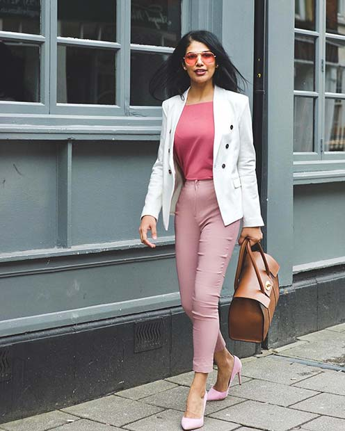 Elegant Pink and White Suit for Office