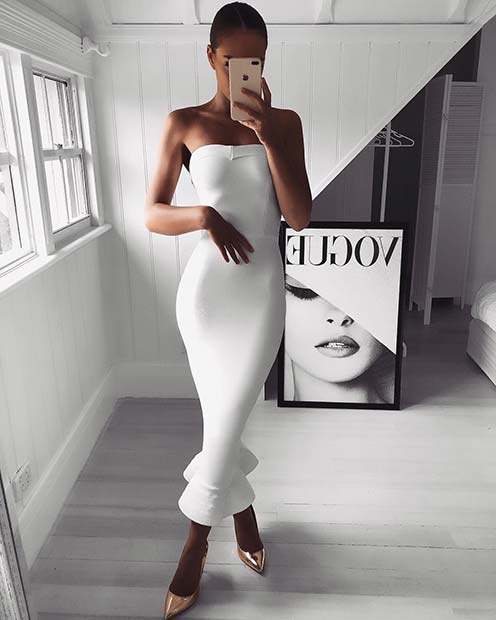 Elegant White Party Dress Outfit