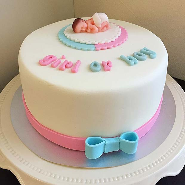 Elegant Girl or Boy Gender Reveal Cake Idea