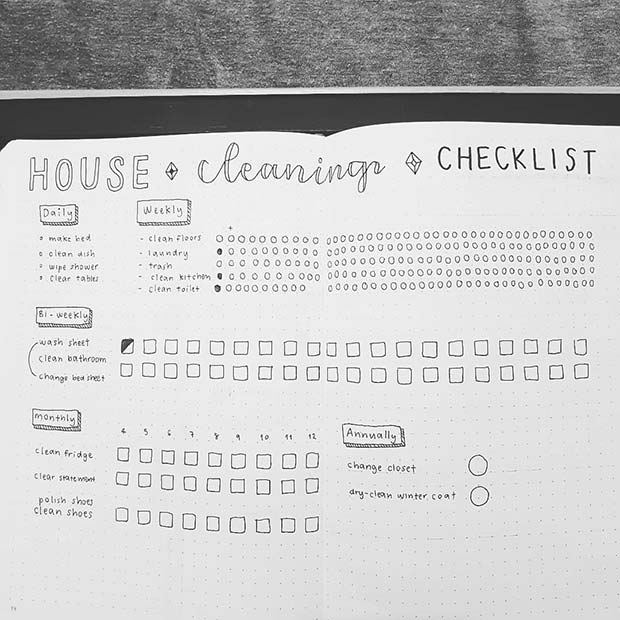 House Cleaning Bullet Journal Spread Idea