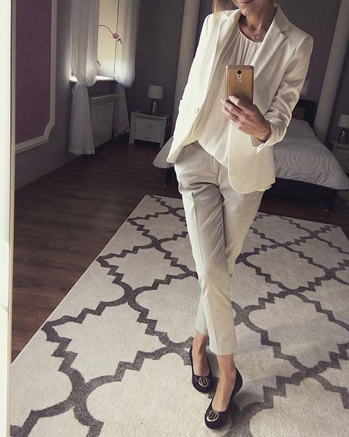 Light Suit and Flats Work Outfit Idea