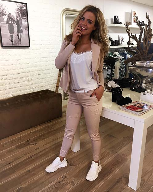 White and Nude Suit Outfit Idea for Work