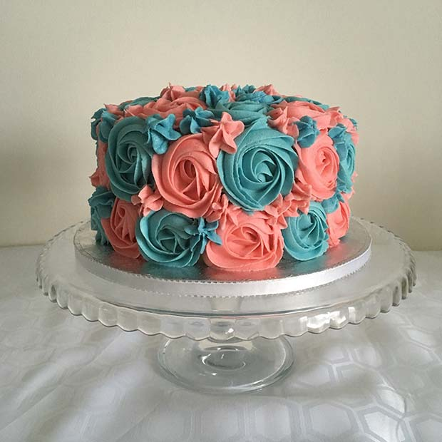 Simple Blue and Pink Iced Cake