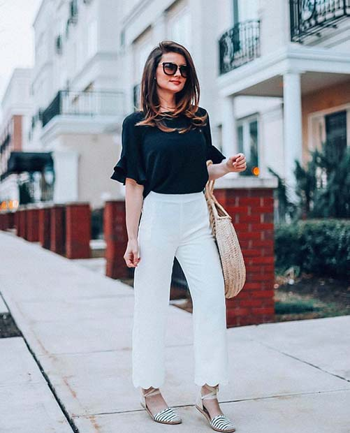 White Pants and Black Top Work Outfit