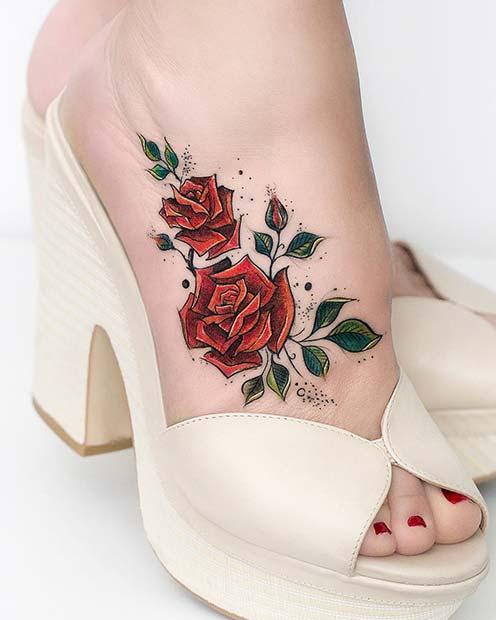 Red Rose Foot Tattoo Idea