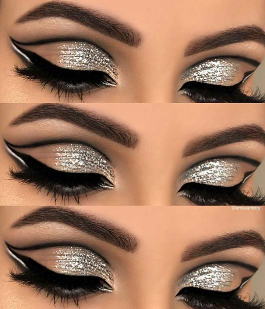 Retro Eyeliner and Glitter Eye Makeup Look