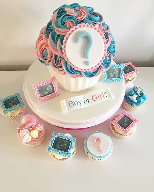 Cupcake Gender Reveal Cake Idea with Baby Scans