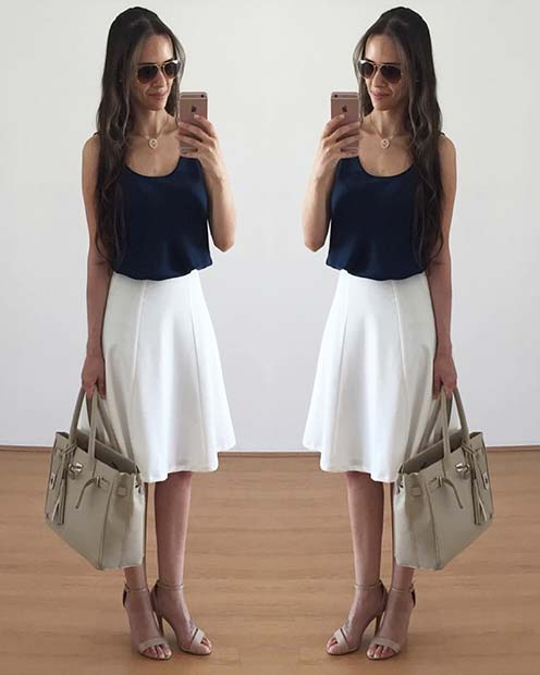 Black and White Skirt Outfit Idea for Work