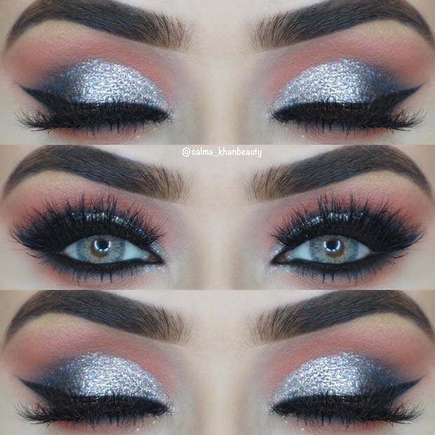 Sparkly Silver Glitter Eye Makeup