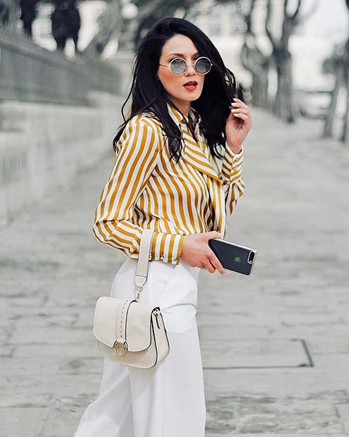 Striped Shirt and White Pants Outfit Idea