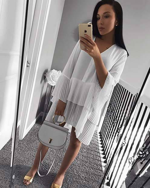 All White Pleated Dress Outfit Idea
