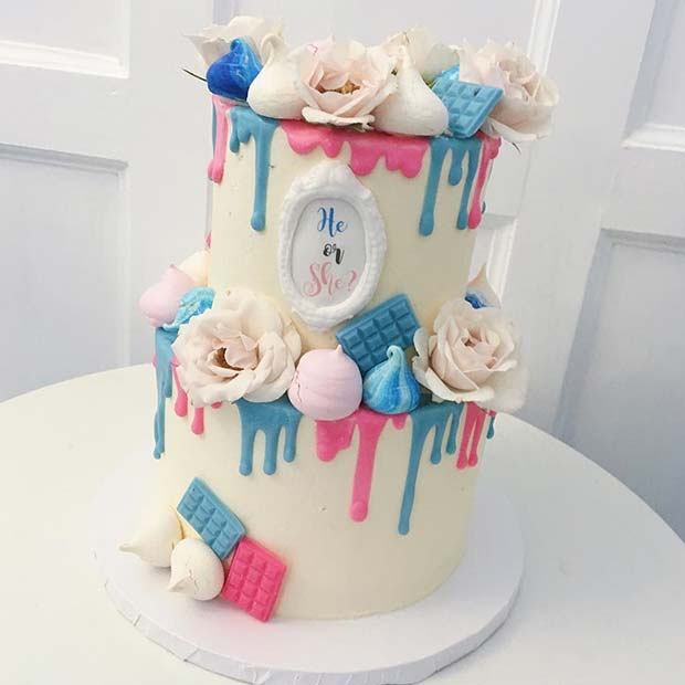 Two Tier Floral Gender Reveal Cake Idea