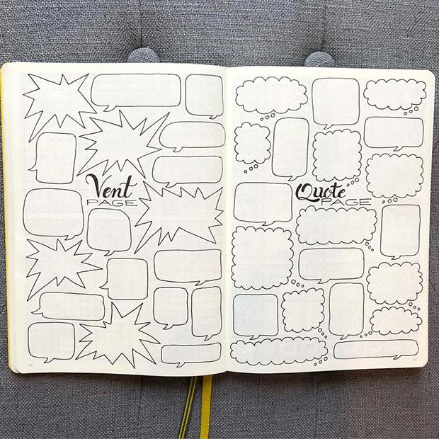 Vent and Quote Page for Bullet Journal