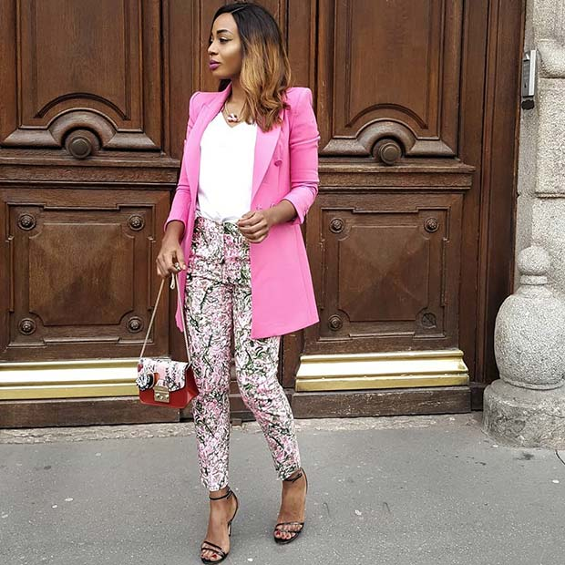 Pink and Floral Spring Work Outfit