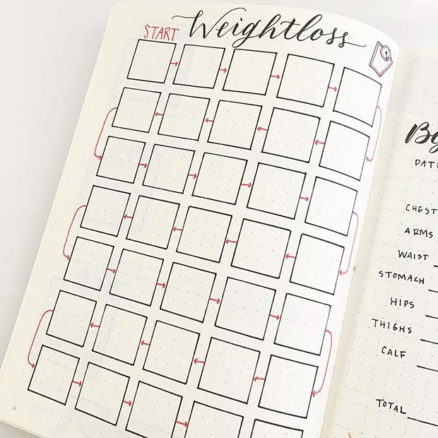 Weight Loss Tracker for Bullet Journal