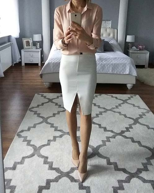 White Skirt Spring Work Outfit Idea