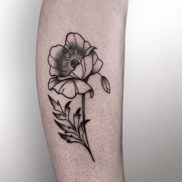 Artistic Black Ink Poppy Tattoo