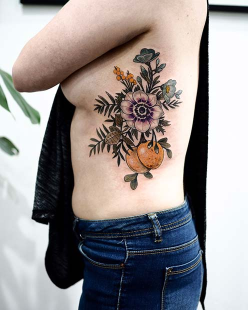 Artistic Flower and Fruit Rib Tattoo Design