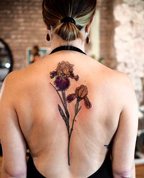 Bearded Iris Back Tattoo