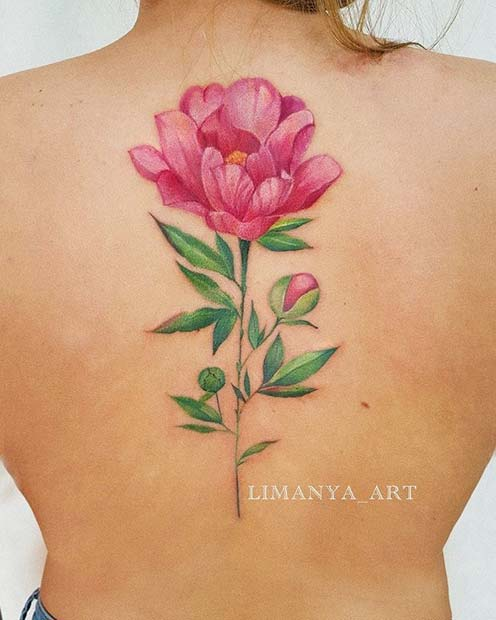 Beautiful Flower Back Tattoo Idea