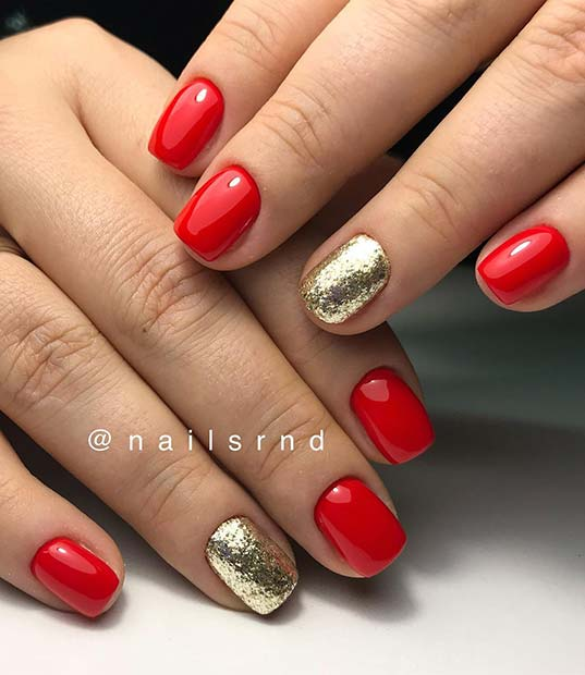 Bold Red and Glitter Summer Nails