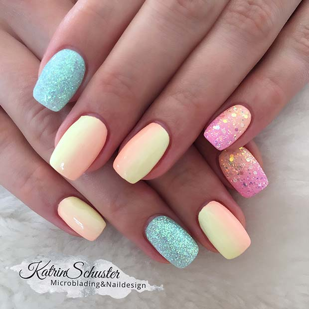 Bright Summer Nails with Glitter