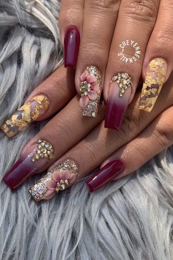 Burgundy Ombre Nails with Flowers
