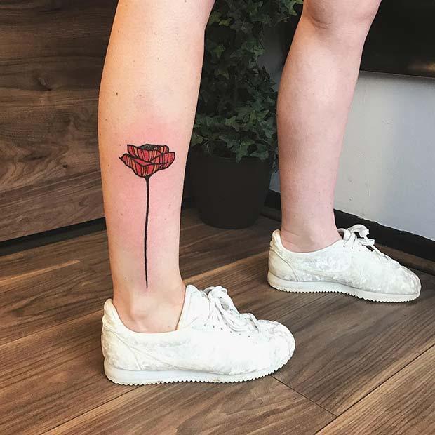 Creative Poppy Leg Tattoo Idea