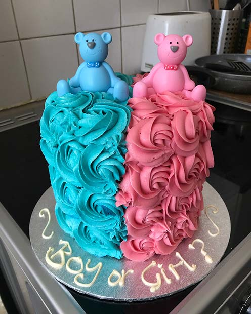 Adorable, Blue and Pink Gender Reveal Cake