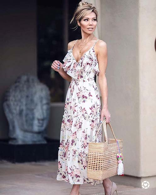 Elegant Floral Dress with Frills